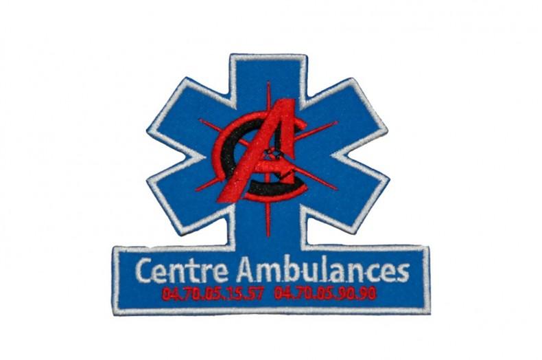 Ecusson sur-mesure découpé à la forme Centre Ambulances