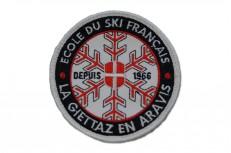 Broderie d'écussons ronds pour l'ESF de La Giettaz en Aravis